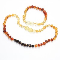 "Polished Baroque Style Multicolor Baltic Amber Teething Necklace / Bracelet Set ""Rainbow"""
