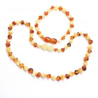 Polished Baroque Style Cognac / Milky Baltic Amber Teething Necklace / Bracelet Set