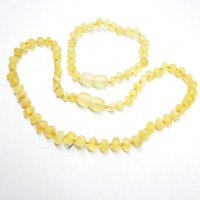 Unpolished Baroque Style Lemon Baltic Amber Teething Necklace / Bracelet Set