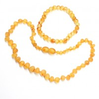 Unpolished Baroque Style Honey Baltic Amber Teething Necklace / Bracelet Set