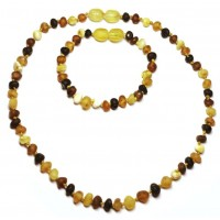 Unpolished Baroque Style Multi Color Baltic Amber Teething Necklace / Bracelet Set