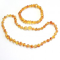 Polished Baroque Style Honey Baltic Amber Teething Necklace / Bracelet Set