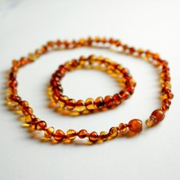 Polished Baroque Style Light Cognac Teething Necklace/Bracelet Set