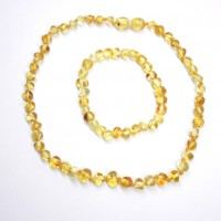 Polished Baroque Style Lemon Baltic Amber Teething Necklace / Bracelet Set