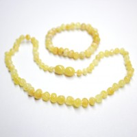 Polished Baroque Style ROYAL Milky Baltic Amber Teething Necklace / Bracelet Set
