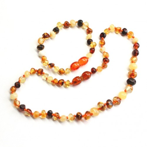 Polished Baroque Style Multicolor Baltic Amber Teething Necklace / Bracelet Set