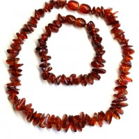 Polished Nuts Style Dark Cognac Baltic Amber Teething Necklace / Bracelet Set