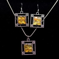 "Polished Lemon Color Baltic Amber Pendant Earring Set ""MOSAIC"""