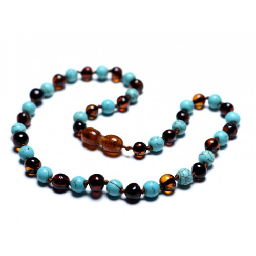 Polished Baroque Style Dark Cognac Baltic Amber With Turquoise Teething Necklace