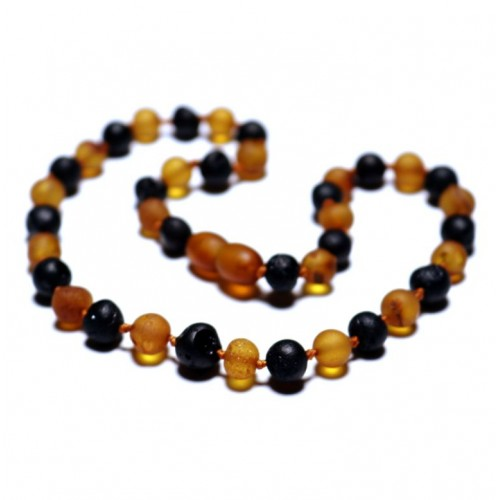Unpolished Baroque Style Cognac/Cherry  Amber Baby Teething Necklace
