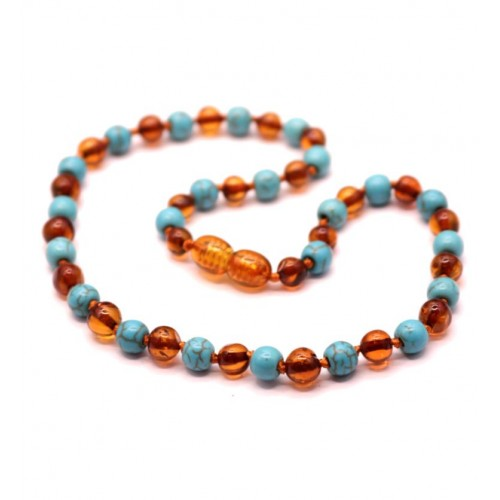 Polished Baroque Style Cognac Baltic Amber With Turquoise Teething Necklace