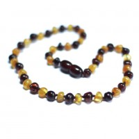 Polished Baroque Style Dark Cognac / Honey Baltic Amber Teething Necklace