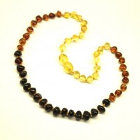 Polished Baraque Style Rainbow  Baltic Amber Baby Teething Necklace