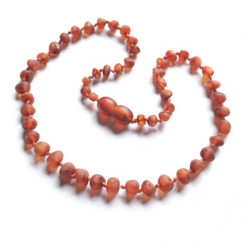 Unpolished Baroque Style Cognac Color Baltic Amber Teething Necklace