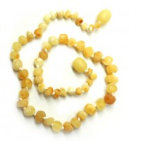 Unpolished Baroque Style Milky Amber Baby Teething Necklace