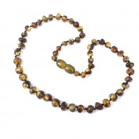 Polished Baroque Style Dark Green Amber Baby Teething Necklace