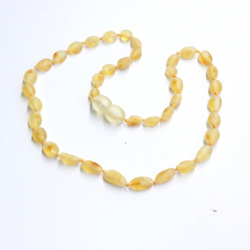 Unpolished Olive Style Lemon Baltic Amber Baby Teething Necklace