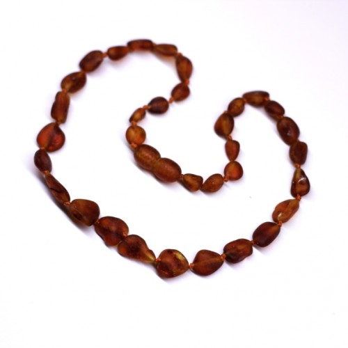 Unpolished Olive Dark Cognac Amber Baby Teething Necklace