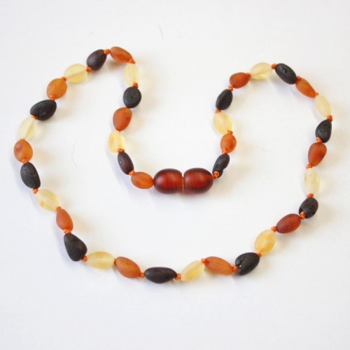 Unolished Olive Style Multicolor Baltic Amber Baby Teething Necklace
