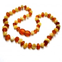 Unpolished Baroque Style Milky / Cognac Baltic Amber Teething Necklace