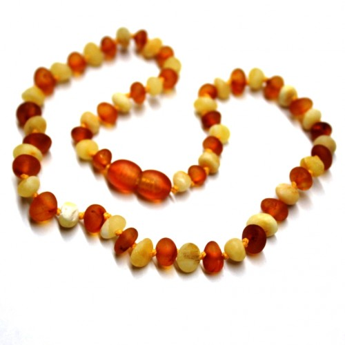 Unpolished Baraque Style Milky / Cognac Baltic Amber Teething Necklace