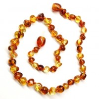 Polished Baroque Style Light Cognac / Honey Baltic Amber Teething Necklace
