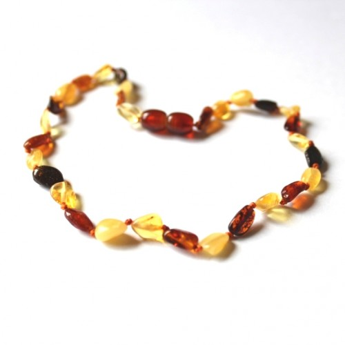 Polished Bean Style Multi-color Amber Baby Teething Necklace
