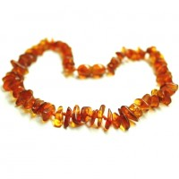 Polished Split Style Light Cognac Teething Necklace