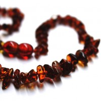 Polished Nuts Style Dark Cognac Baltic Amber Teething Necklace