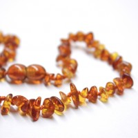Polished Nuts Style Light Cognac Baltic Amber Teething Necklace