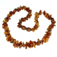 Raw Split Style Light Cognac Teething Necklace
