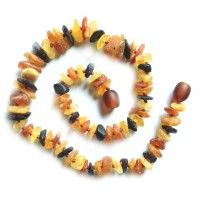 Raw Split Style Multi-color Baltic Amber Teething Necklace