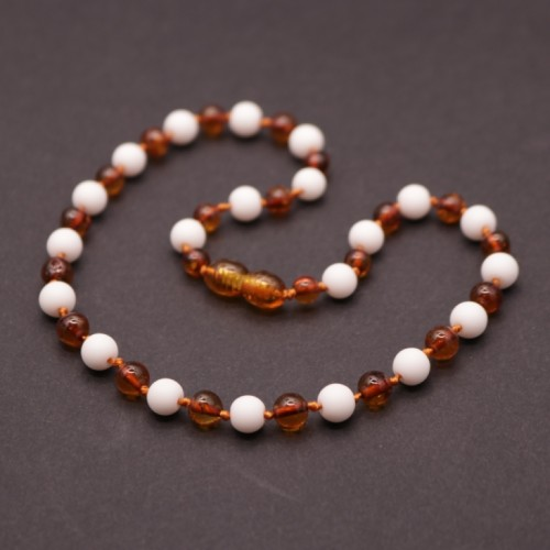Polished Baroque Style Cognac Baltic Amber With Howlite Teething Necklace