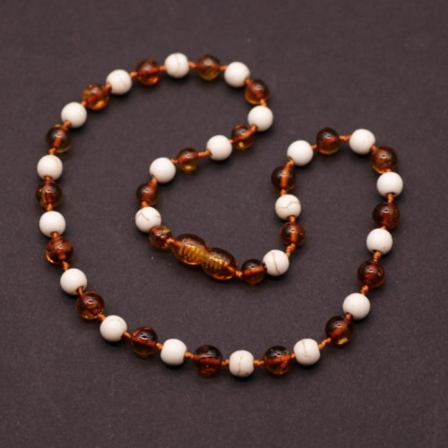 Polished Baroque Style Cognac Baltic Amber With Onyx Teething Necklace