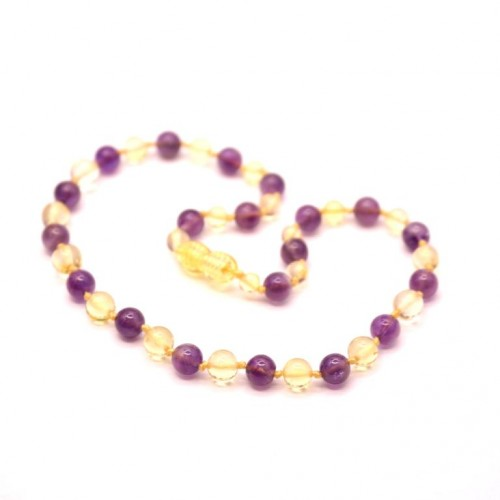 Polished Baroque Style Lemon Baltic Amber With amethyst Teething Necklace
