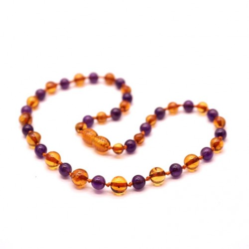 Polished Baroque Style Cognac Baltic Amber With amethyst Teething Necklace