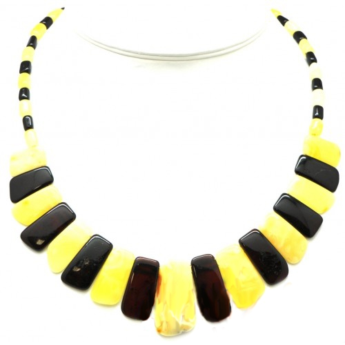 Polished Butter Color Baltic Amber Choker Necklace 46 cm in 18g