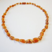 Unpolished Bean Style Cognac Baltic Amber Adult / Mom Necklace