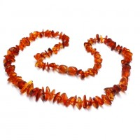 Polished Split Style Light Cognac Baltic Amber Adult / Mom Healing Necklace