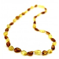 Polished Bean Style Cognac Honey Baltic Amber Adult Necklace