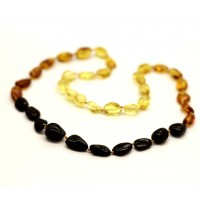 Polished Bean Style Rainbow Baltic Amber Adult Necklace