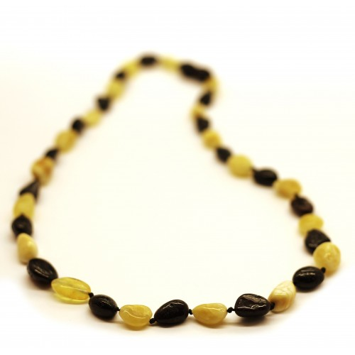 Polished Bean Style Cherry / Bitter Color Baltic Amber Adult Necklace