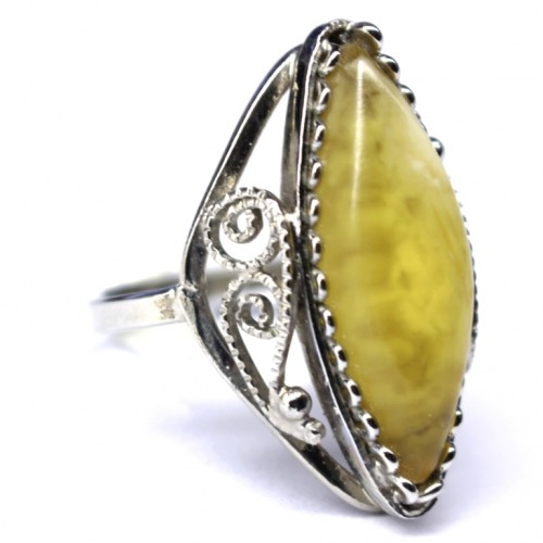 Silver Color Ring With Lemon Baltic Amber size 8
