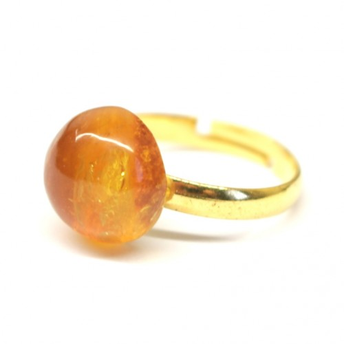 Gold Color Adjustable Ring With Lemon Color Baltic Amber 10