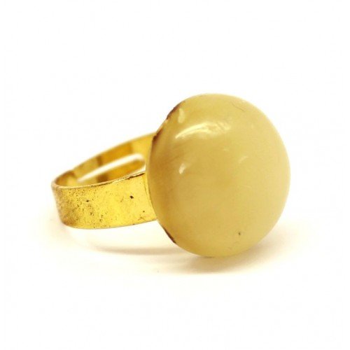 Antique Gold Color Adjustable Ring With Royal Milky Color Baltic Amber