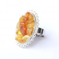 Silver Color Ring With Multi Color Amber Pieces - Adjustable