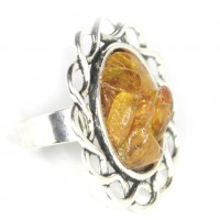 Silver Color Ring With Baltic Amber Pieces Adjustable