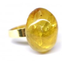 Gold Color Adjustable Ring With Lemon Color Baltic Amber