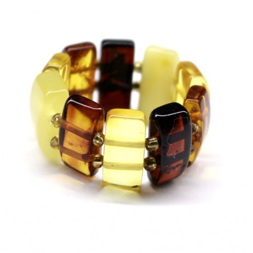 Multi Color Baltic Amber Elastic Ring  25