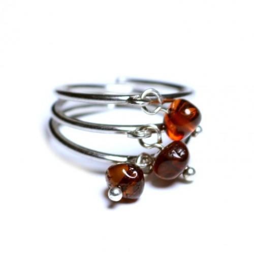 Silver Color Ring With Light dark Cognac Baltic Amber size 7 3/4